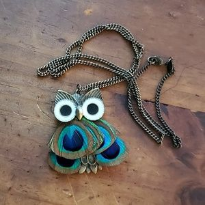 Peacock Feathers Owl Necklace